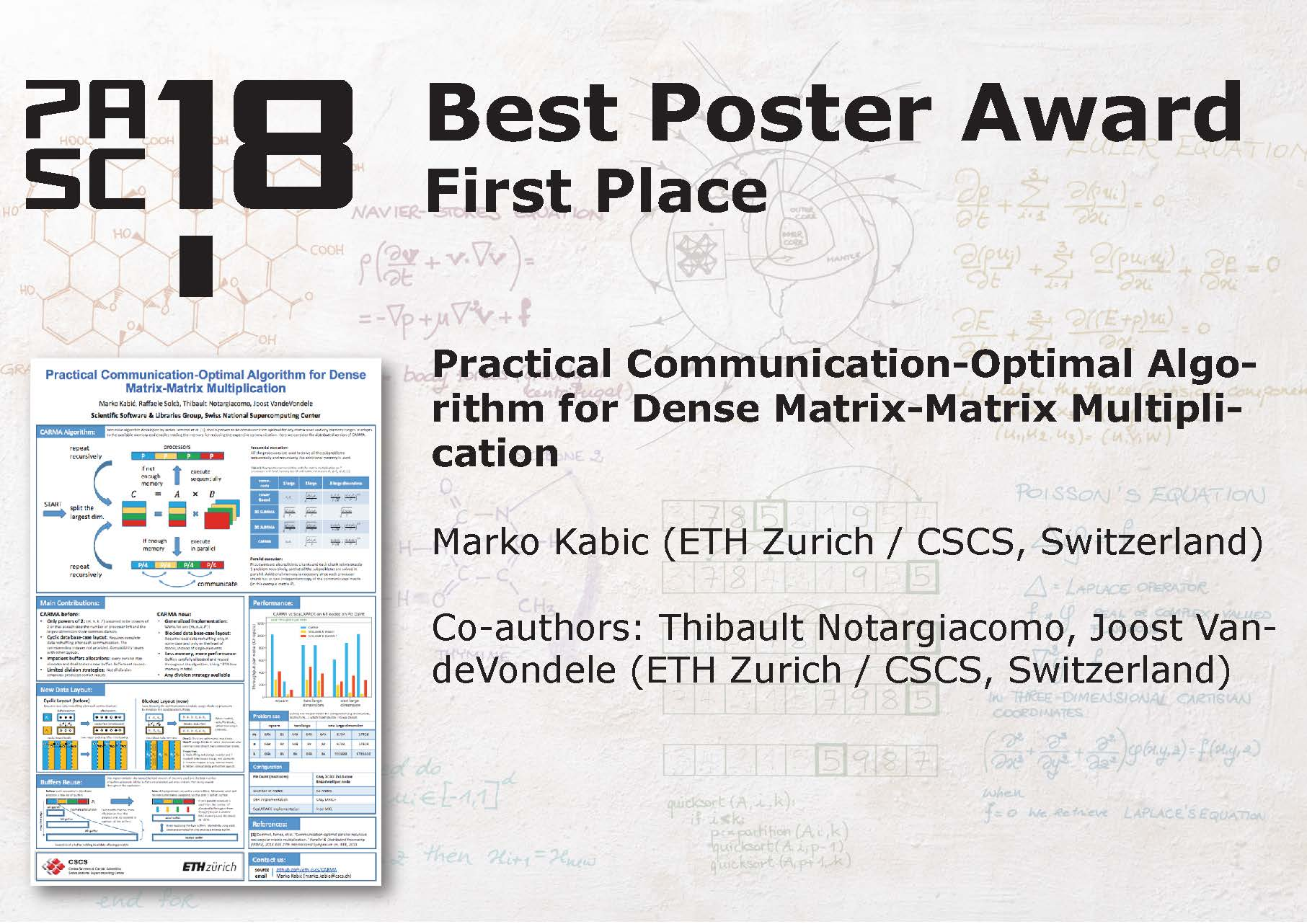 Pasc18 best posters awards pasc conference best poster awards first place yelopaper Gallery
